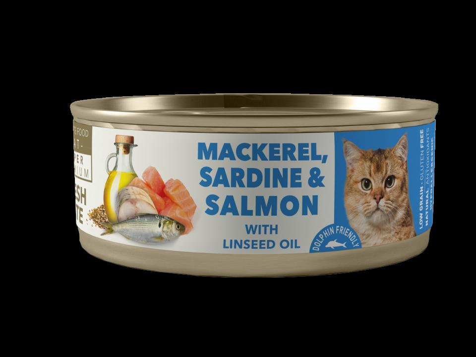 Caballa, sardina con salmón con aceite de linaza ADULTO